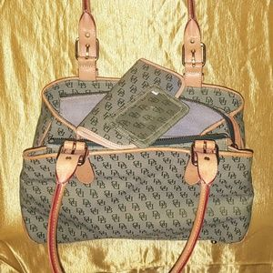 Dooney and Bourke green monogram canvas handbag